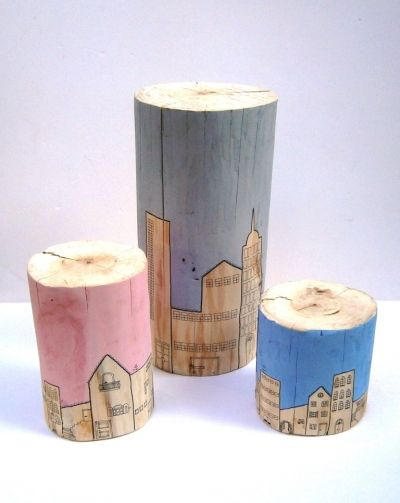 Naturban. Wooden stools/ Elm tree trunks for children, hand-painted by Christina Michalopoulou at www.happyrooms.gr