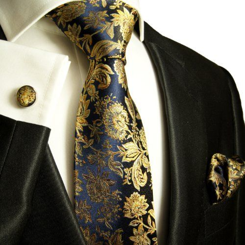 Paul Malone Extra Long Silk Necktie, Pocket Square and Cufflinks Navy Gold Paul Malone