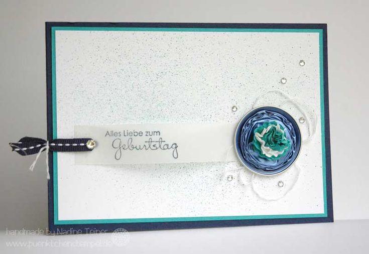 Nespressokapseln mal anders: eine Karte zum Geburtstag aus recycelten Nespressokapseln: marine und türkis