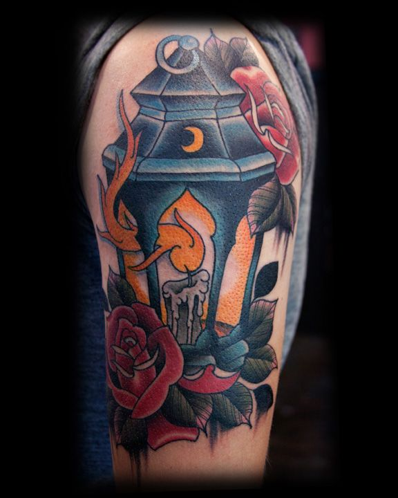 candle-lamp-n-red-roses-tattoo-design.jpg (576×720 ...