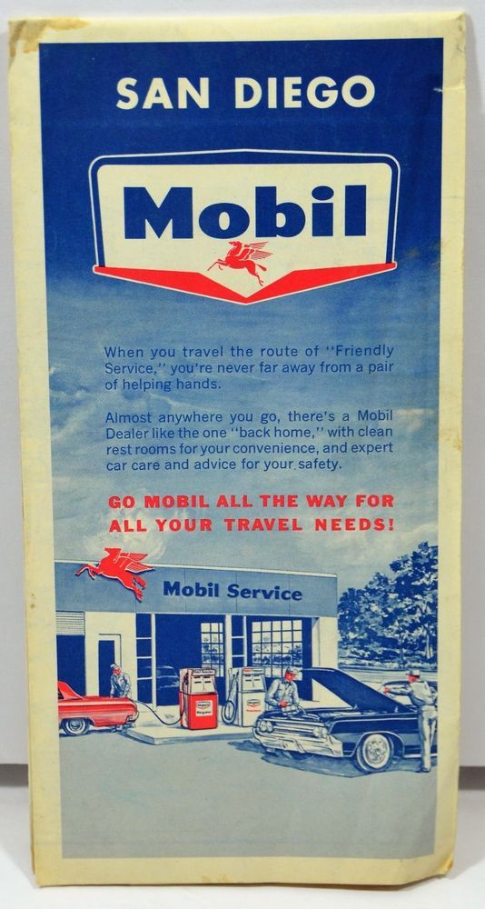 Mobil San go California Map United States Road Street Map 1964 ... on