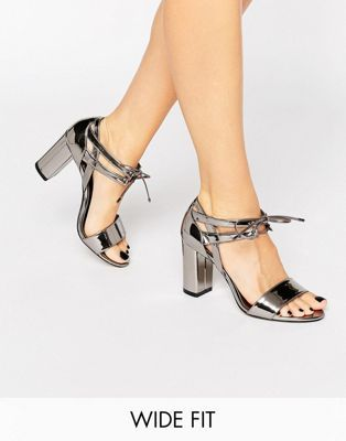 Dune Wide Fit Moroco Pewter Block Heeled Sandals
