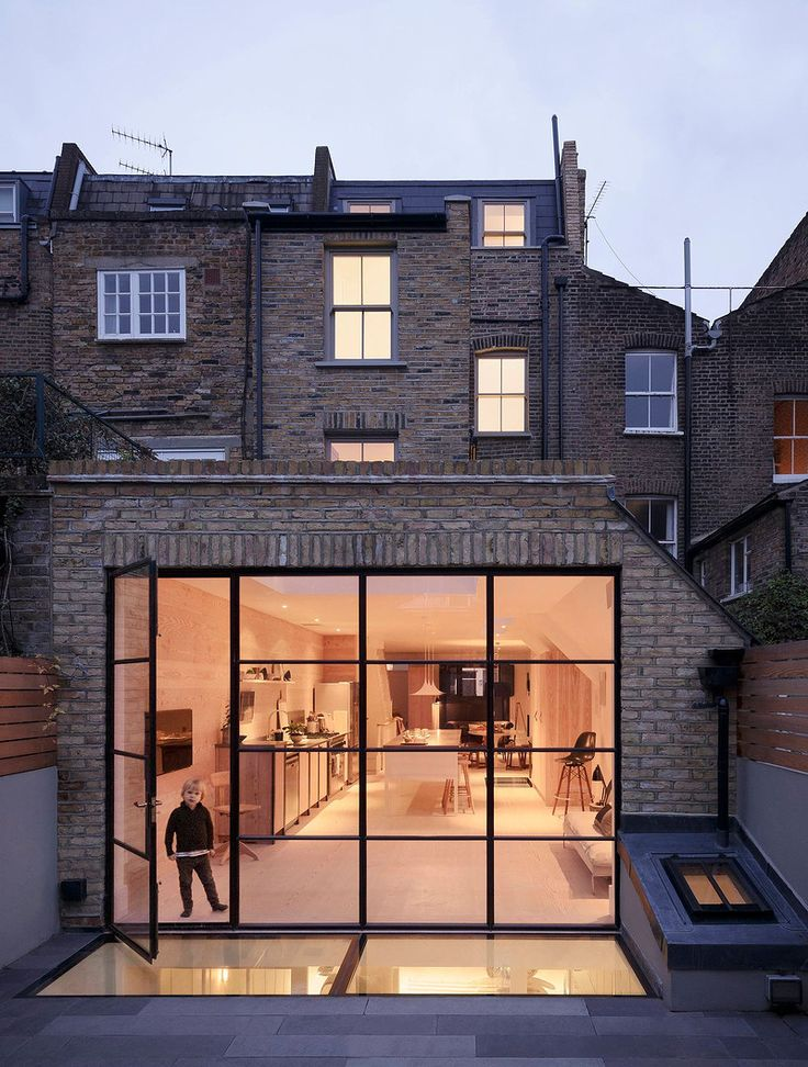 London rear extension with crittal windows and walk on skylights to basement
