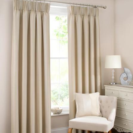 Dunelm Monaco Light Brown Polyester Pencil Pleat Curtains (W 229cm (90'') x Drop 183cm (72''))