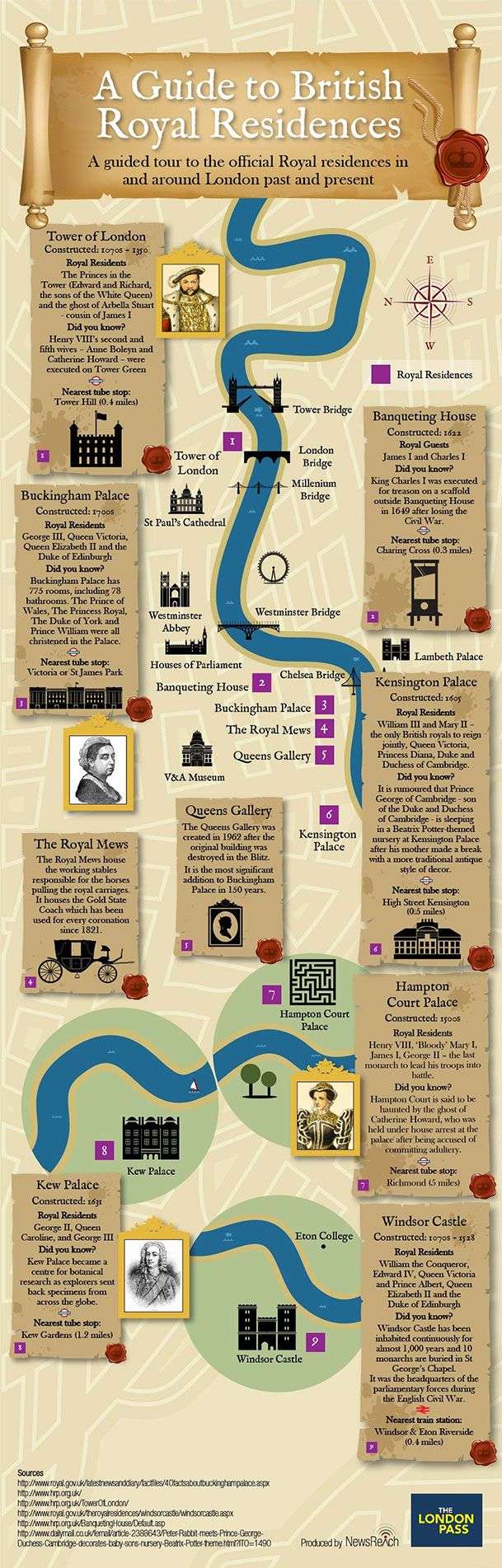 Here's a visual guide to the royal residences you can visit on a trip to London, complete with trivia, which we produced for London Pass.
