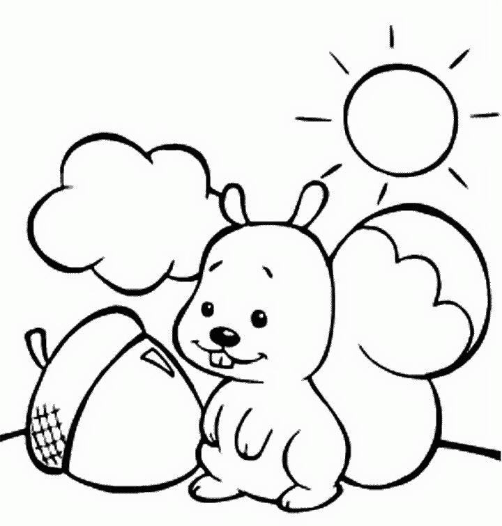 squirrel with a nut on a sunny day color page animal coloring pages coloring pages for kids thousands of free printable coloring pages for kids - Autumn Coloring Pages Toddlers