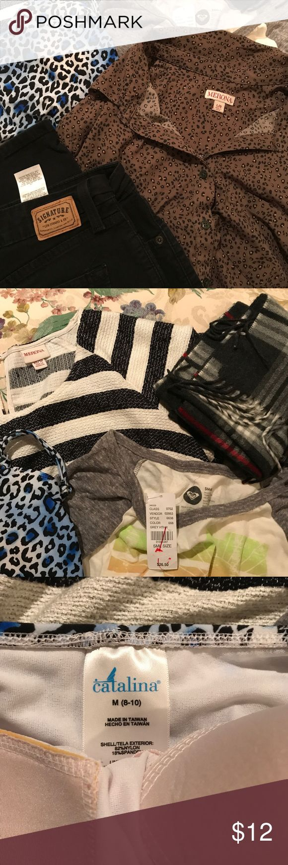 Women's Reseller Mystery Bundle 6 Pieces 6 Pieces of women's clothing. Sizes are random. Brands included are Merona, Catalina, Levi's and a Roxy top NWT. Some items may need to be cleaned, ironed or mended. All sales final.   1 Scarf 3 Tops  1 One Piece Bathing Suit 1 Jean Levi's Tops