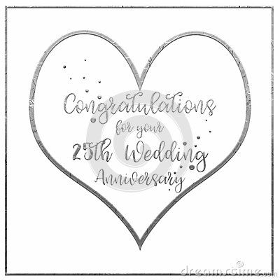 A simple, uncomplicated white, with a silver border, Silver Wedding Anniversary card or poster. The words, placed in the centre of a large silver heart read, `Congratulations for your 25th Wedding Anniversary`. The design is finished with tiny silver confetti hearts, running through the hand writing style of decorative text.