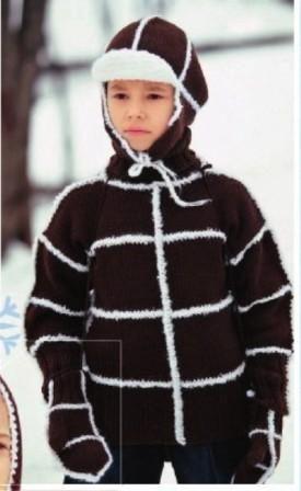 Комплект - свитер, варежки и шапочка танкиста для мальчика, вязаный спицами