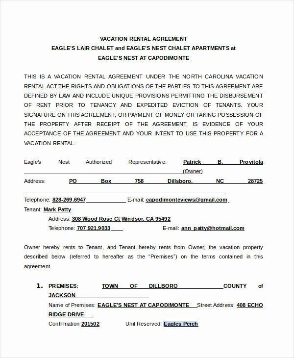 Vacation Rental Agreement Template New Rental Agreement Form 14 Free Sample Example Rental Agreement Templates North Carolina Vacation Rentals Vacation Rental