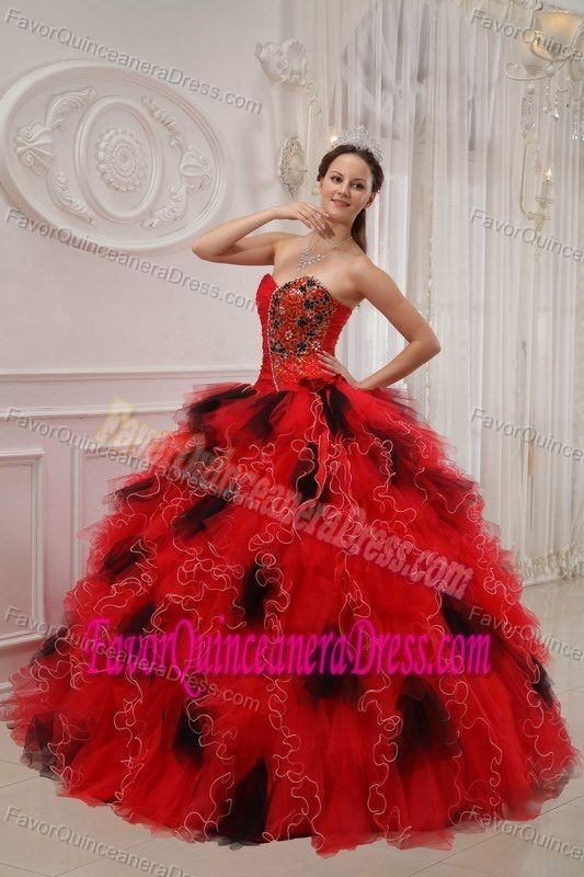c670da7966e Sexy Red and Black Sweetheart Appliqued Organza Quinceanera Dress with  Ruffles