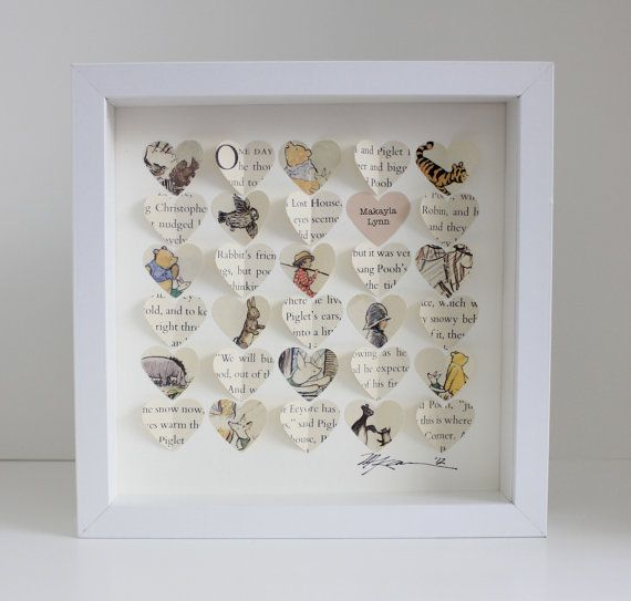 Baby Gift - Winnie the Pooh Baby Shower Gift: Personalized Nursery Art 3d framed hearts (Personalized Baptism Gift or Christening Gift). $72.00, via Etsy.