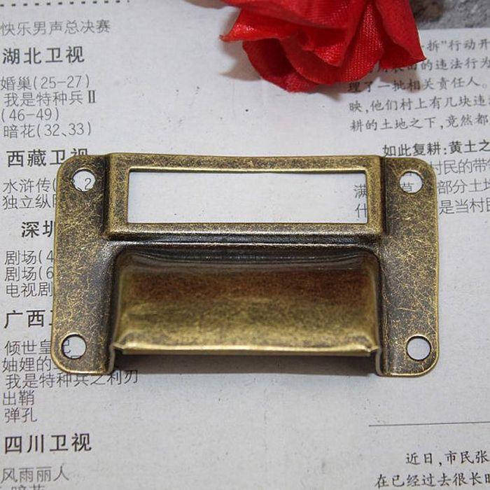 Vintage Drawer Handle label frame Pull Chest Drawer Cupboard filing cabinet  label card frame Insert Holder Cup pull-in Handles