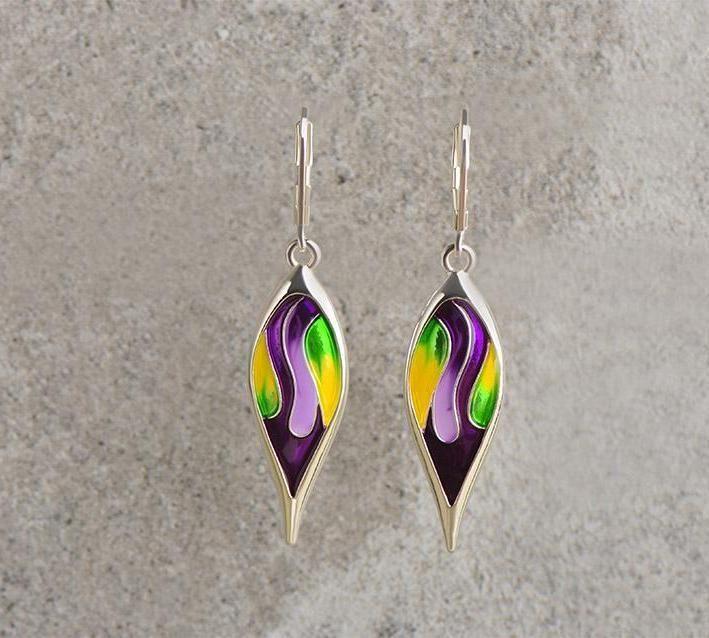 Tear Drop Colorful Necklace Earring set / Purple