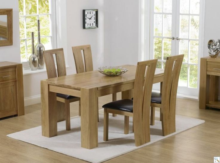 Mark Harris Tampa Solid Oak Dining Table With 6 Arizona Brown Chairs