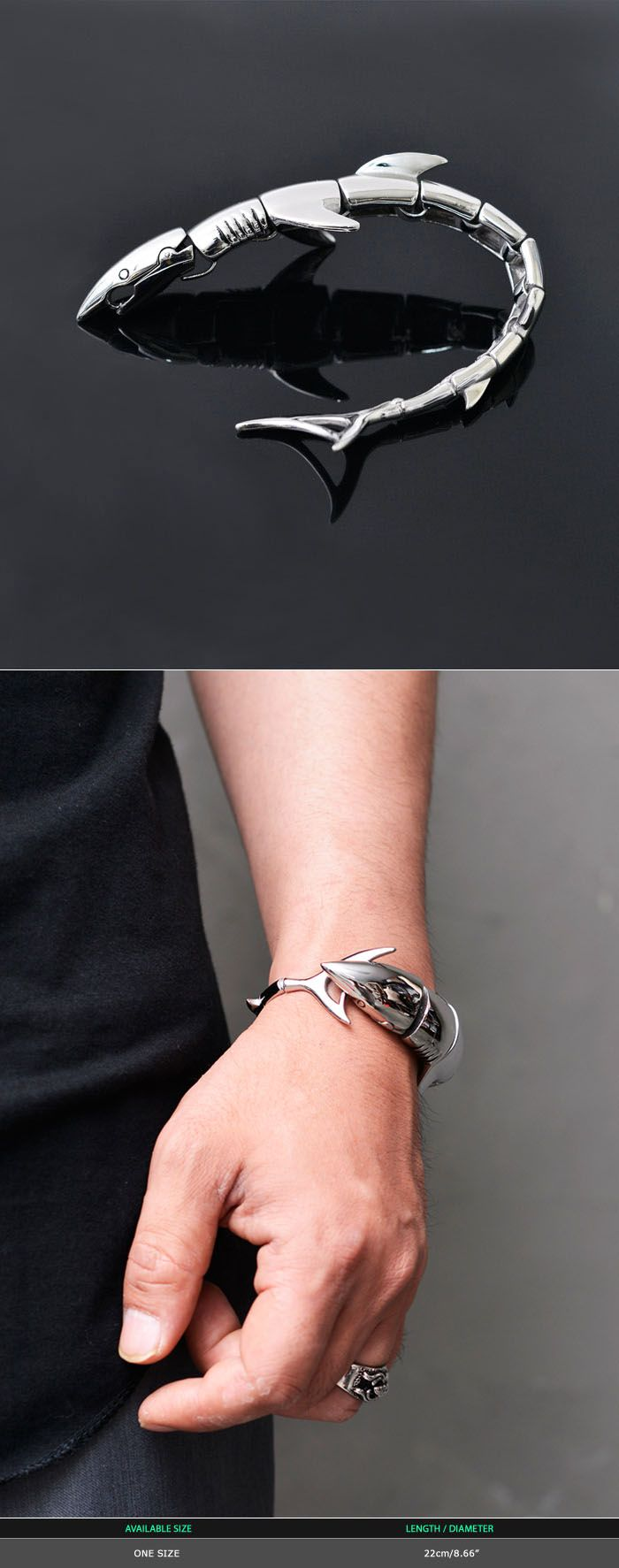 Accessories :: Bracelets :: Full Shark Stainless Steel Cuff-Bracelet 225 - Mens Fashion Clothing For An Attractive Guy Look