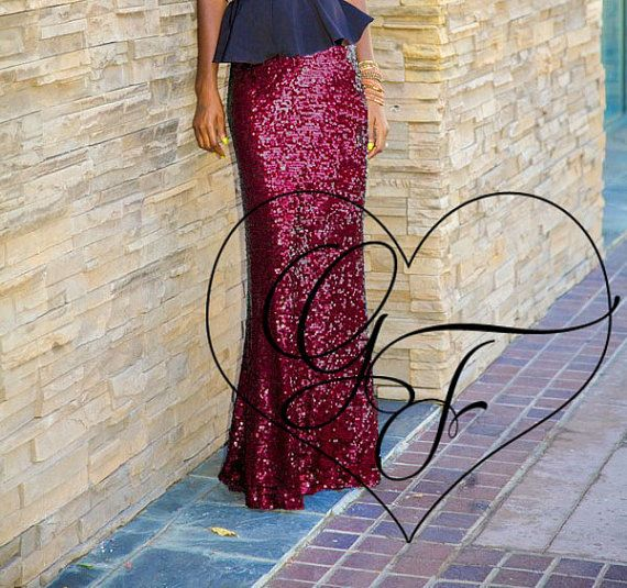 Shiny Burgundy Stretch Sequin Maxi Skirt - Wedding // Bachelorette // Bridesmaids // Prom // Homecoming // Holiday // New Year's Eve
