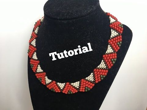 How to: peyote wave necklace with only two sizes of seed beads - YouTube