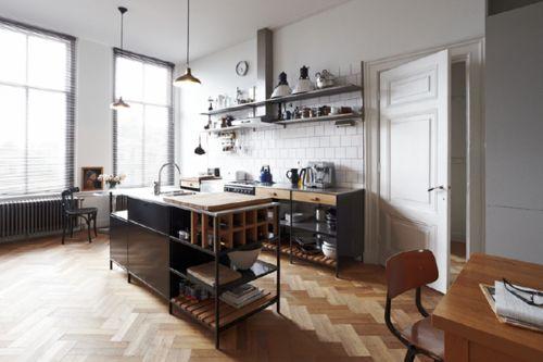 herringbone wood floors, subway tile backsplash, hanging pendant lights…
