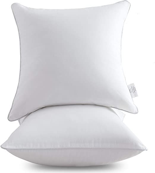 Oubonun 20 X 20 Pillow Inserts Set Of 2 Throw Pillow Inserts With 100 Cotton Cover 20 Inch Square I Sofa Pillows White Couch Pillows White Throw Pillows 20 x 20 pillow insert