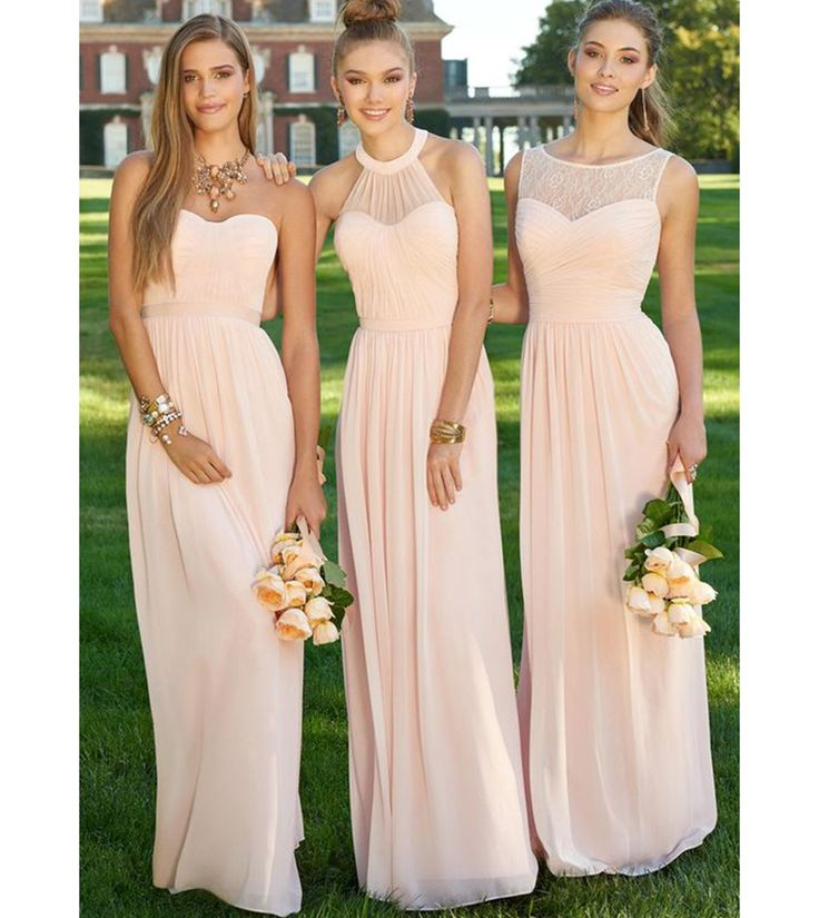 Find More Bridesmaid Dresses Information about Bridesmaid Dresses Long  Peach Light Pink Bridesmaid Dress Empire Halter Long Chiffon Dresses 3  Style Dress ...