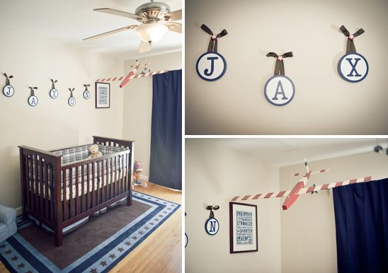 Red And Navy Vintage Airplane Nursery Airplane Nursery