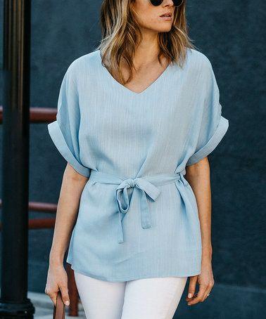 Look what I found on #zulily! Baby Blue Tie-Waist Linen-Blend V-Neck Top #zulilyfinds