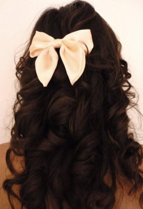 long hair with bow