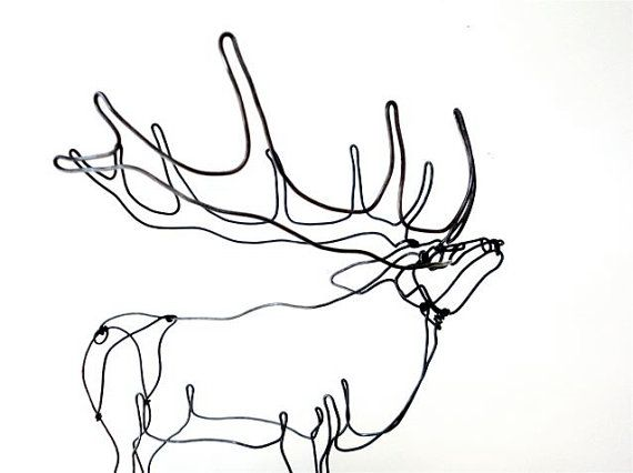 Elk Wire Sculpture by WiredbyBud on Etsy, $70.00
