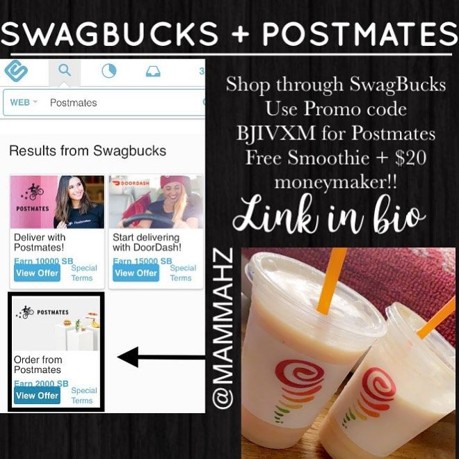 Sign Up For Swagbucks Link In Bio Sign Up For Postmates Through Swagbucks To Activate 20 Cashback On Postmates Add Promo C Jumba Juice Promo Codes Postmates