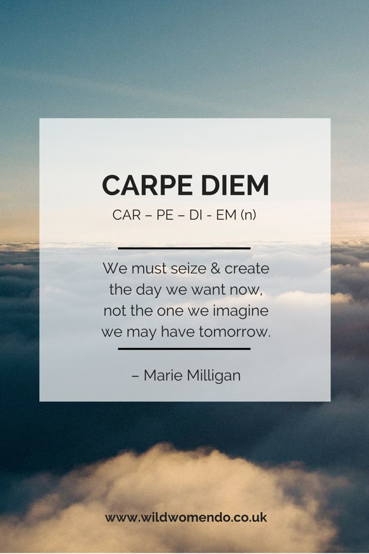 Carpe diem seize create the day you want now not the for What does carp mean