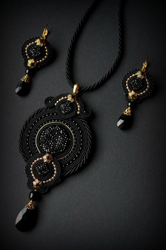 Handmade soutache set  earrings and necklace от Mildossutazas