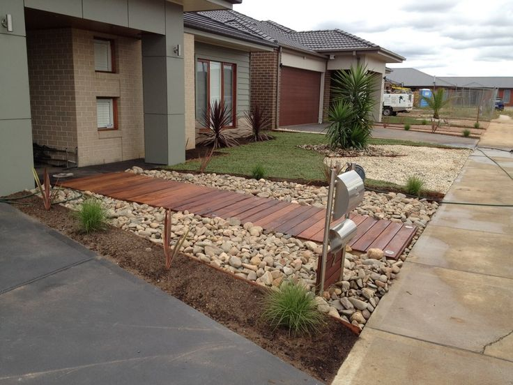 Beautiful contemporary front yards melton merbau for Basic landscaping ideas for front yard