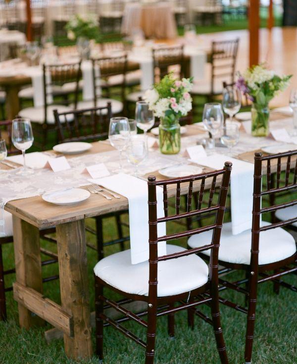 Wood Farmhouse Tables at Wedding | The McCartneys Photography on @eadweddings via @aislesociety