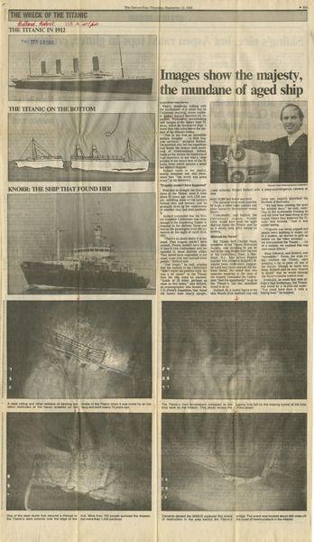 Denver Post September 12, 1985 coverage of Robert Ballard's September 1st discovery of the Titanic.
