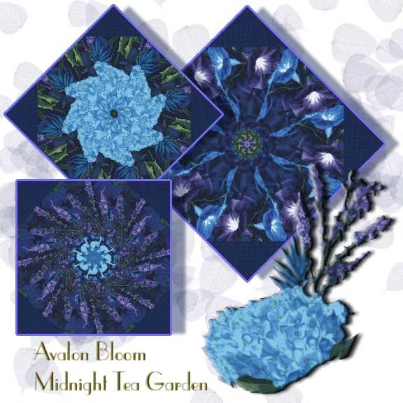 Midnight Tea Garden Kaleidoscope Quilt Block Kit Midnight Tea Garden is full of flowers in bloom, Morning Glories, Hydrangeas, Lilacs, and Lavender.