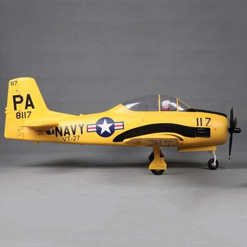 """Eleven Hobby T-28 T28 Trojan Customized Yellow 1100mm 43"""" Wingspan Warbird PNP Sale - Banggood.com sold out"""
