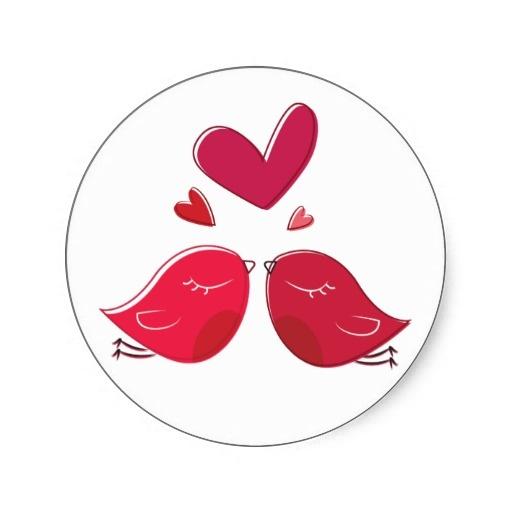 Cute red lovebirds stickers ... http://www.zazzle.com/red_lovebirds_and_hearts_love_sticker_label-217328817816133370
