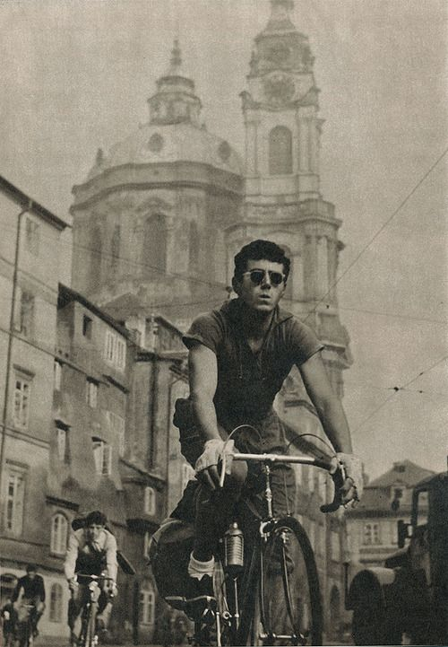 Vintage Prague cycling captured by the lens of Ladislav Sitenský.