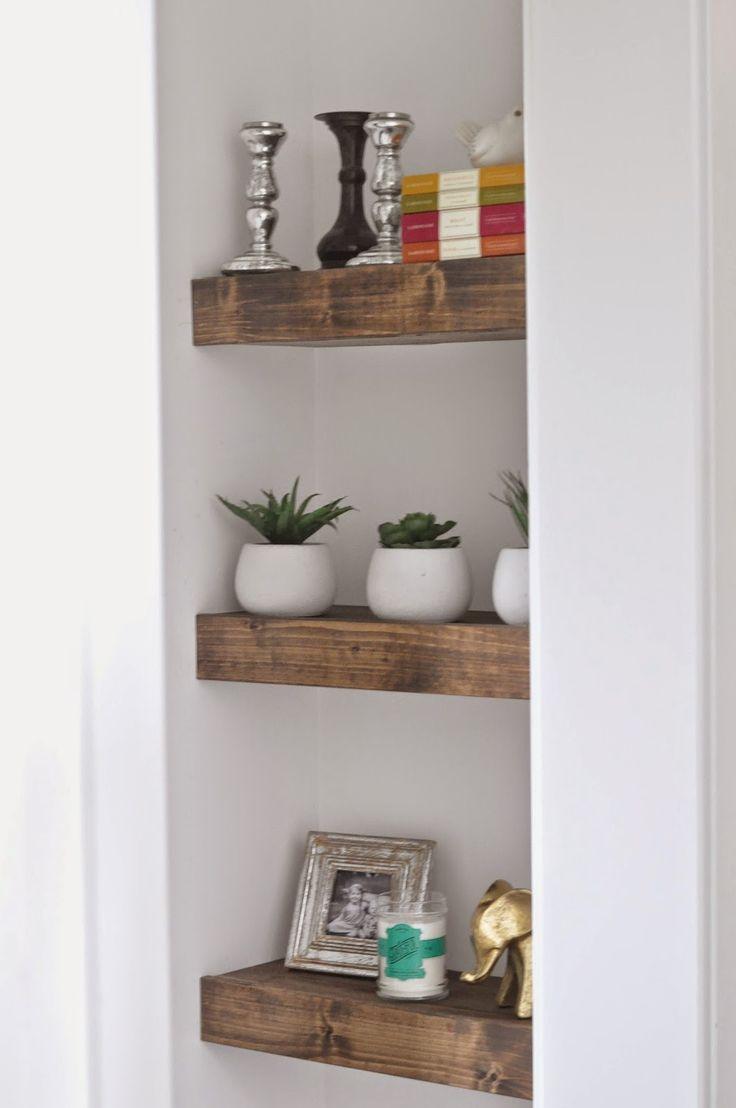 Beckham + Belle: DIY Chunky Stained Wood Shelves