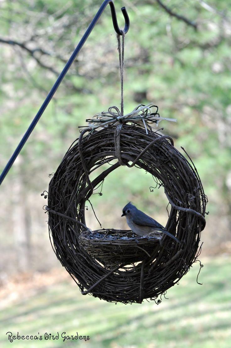 Homemade garden art ideas - Rebecca S Bird Gardens Blog Diy Grapevine Bird Feeder Garden Craftsgarden Artgarden