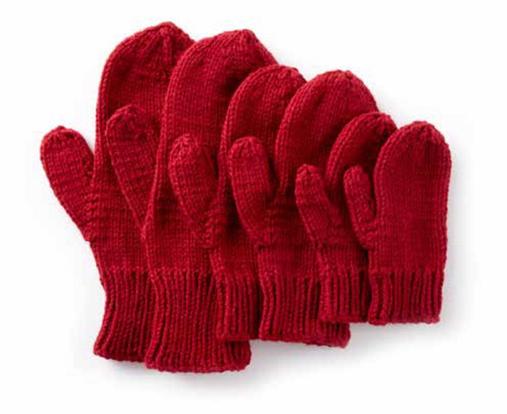 Basic Family Knit Mittens FREE knitting pattern in Caron One Pound - get the downloadable PDF from Loveknitting.