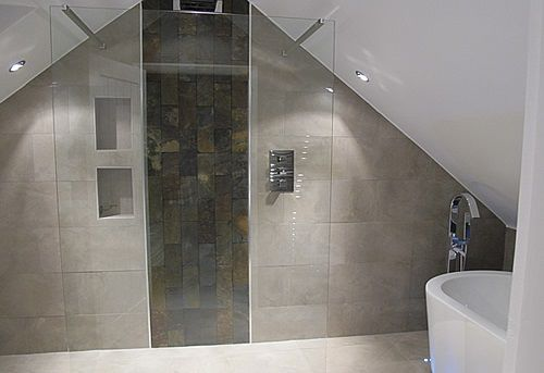 48 best shower designs images on pinterest bathrooms for Slate wet room