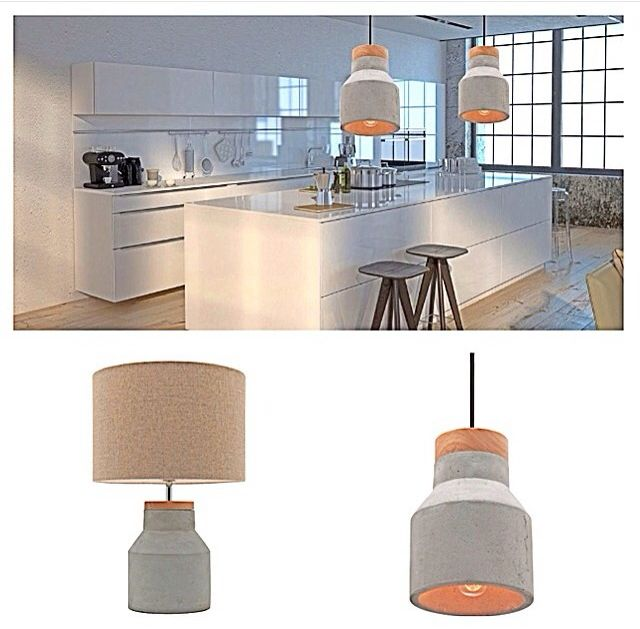 Concrete trends. Moby pendant light is available in small and large and table lamp as well. www.bitolalighting.com.au