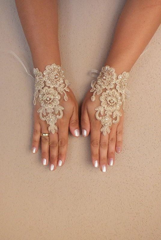 cappuccino Wedding gloves free ship bridal lace by WEDDINGGloves, $30.00