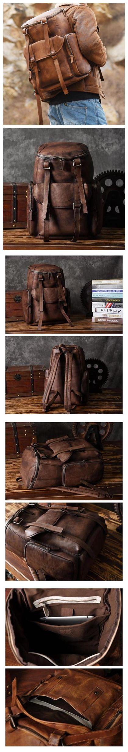 Handmade Coffee Leather Backpack Casual Rucksack Travel Backpack Hiking Backpack MT06