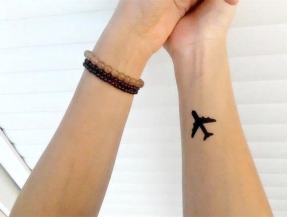 plane, small, tattoo, travel, world