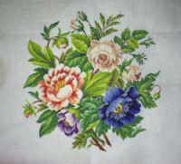 Gallery.ru / Bouquet with blue Peony - Процесс вышивки - markiza-1