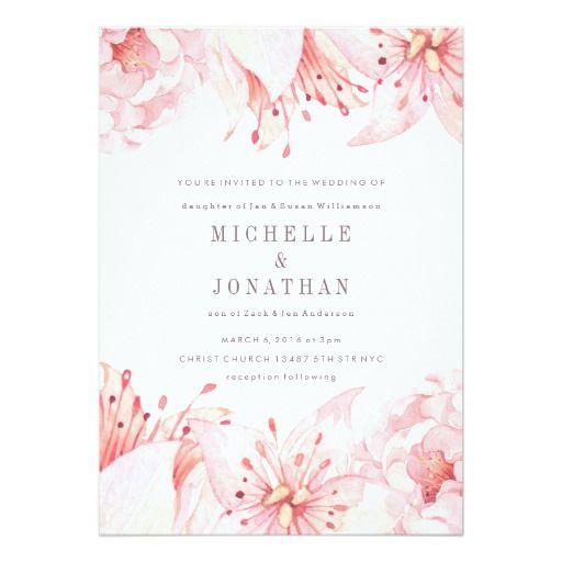 pink soft watercolor flower wedding invitation