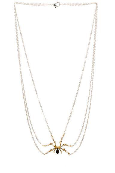 TOM BINNS | Gold Spider Necklace in Crystal